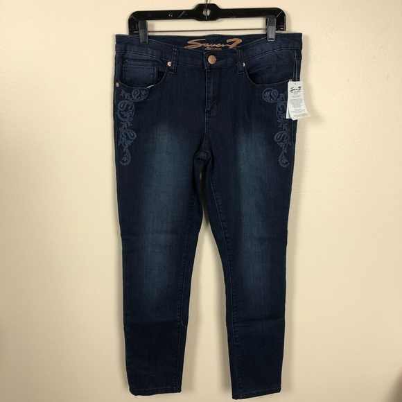 Seven7 Denim - Seven7 NWT Ankle Skinny embroidered jean leia blue